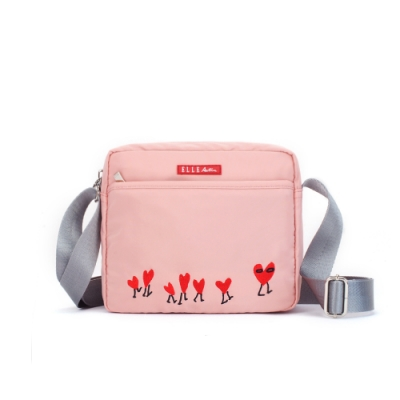 ELLE Active 熱愛追隨系列-方型側背包/斜背包-粉紅色
