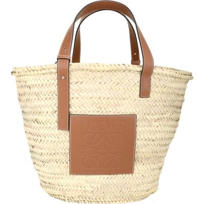LOEWE Basket 大款 小牛皮拼接草編托特包(棕褐色)