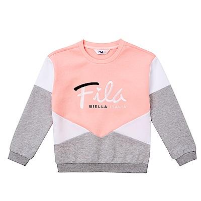 FILA KIDS 童 棉質針織上衣-粉紅 5TES-8413-PK