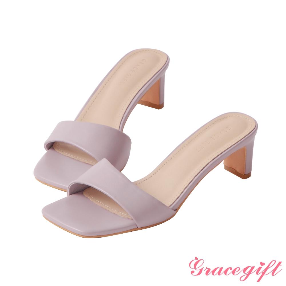 Grace gift-素面一字中跟涼拖鞋 紫