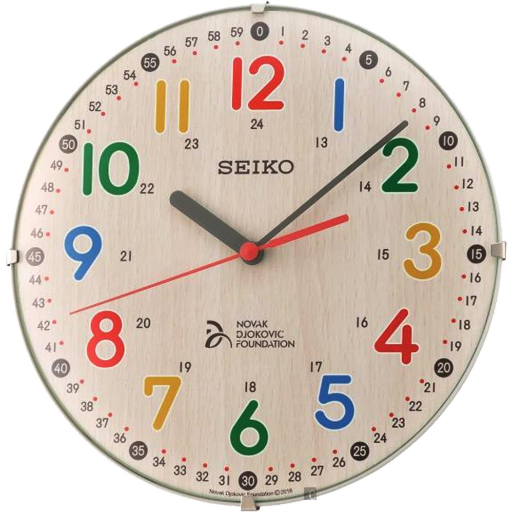 SEIKO 精工 喬科維奇兒童教育滑動式秒針座掛鐘-21cm(QXA932Z)