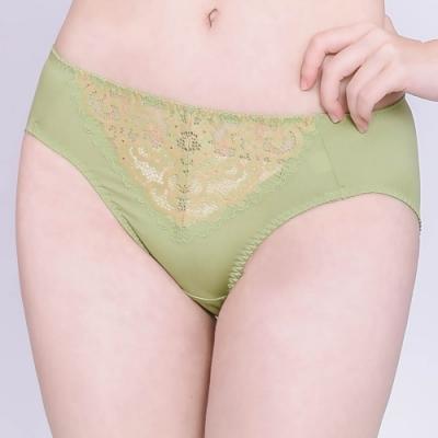 思薇爾 桔梗花戀系列M-XXL蕾絲中腰三角內褲(草本綠)