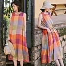 洋裝-色織亞麻彩虹格子繫帶無袖寬鬆背心裙-設計所在