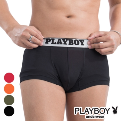 PLAYBOY MIT素面低腰彈性平口褲 四角褲-單件(黑)