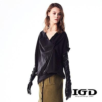 IGD英格麗 天絲棉多層次褶皺修身造型上衣-黑色