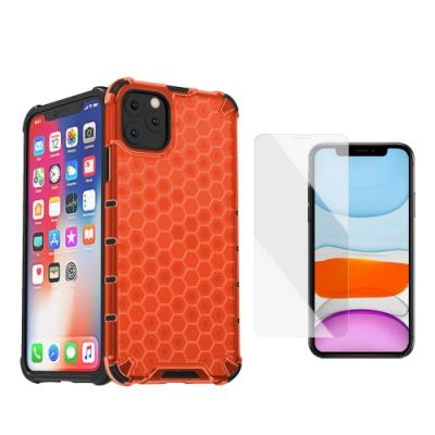 [買手機殼送保護貼] iPhone 11 Pro 赤焰橘 四角防摔 透光蜂巢手機殼 (iPhone11Pro手機殼 iPhone11Pro保護殼 )