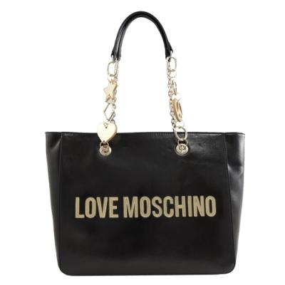 MOSCHINO LOVE系列LOGO菱格紋托特包(黑)