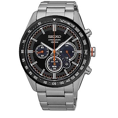 SEIKO Criteria時尚率性太陽能計時腕錶/V175-0DK0R/SSC463P1