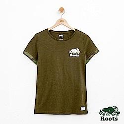 女裝Roots 迷彩翻袖短袖T恤-綠
