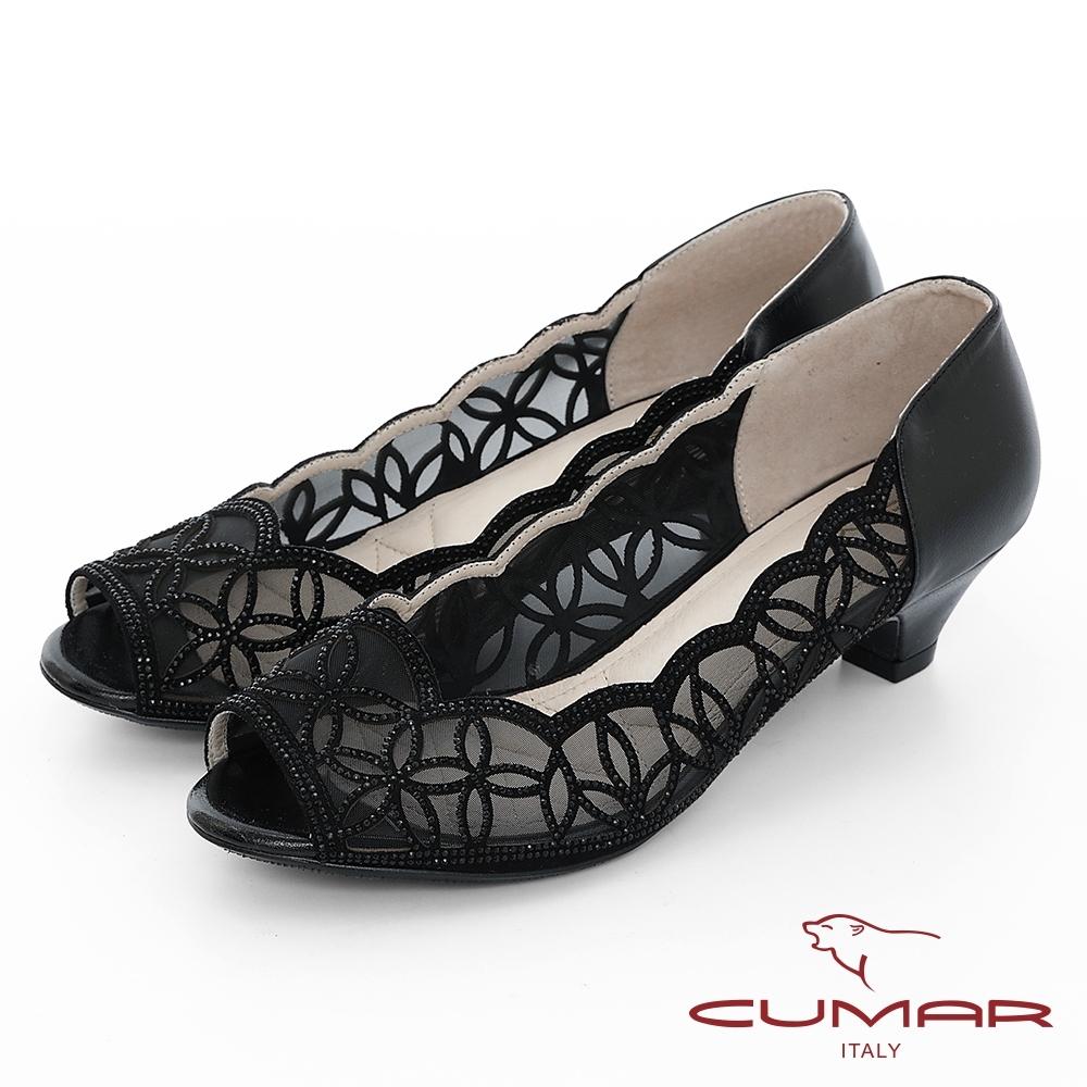 CUMAR 童話奧地利 - 華麗優雅鏤空水鑽宴會魚口鞋-黑