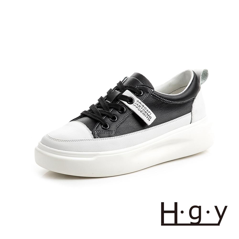 HGY-正韓-增高鞋真皮鞋織帶款小白鞋-增高4公分-黑