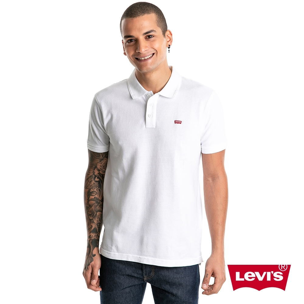 Levis 男款 短袖POLO衫 / 迷你刺繡Logo布章 / 白