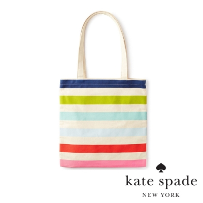 Kate Spade 炫彩條紋多功能帆布袋 Canvas Book Tote, Candy Stripe