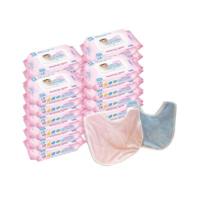 貝比Q EDI超厚超純水柔濕巾(80抽)x24包/箱/(無香料)+六甲村嬰兒甜心圍兜*1(顏色隨機)