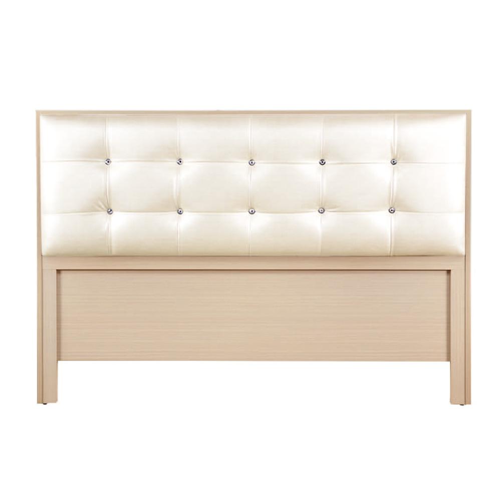 綠活居 雷斯時尚5尺水鑽米白皮革雙人洗白床頭片-154.5X5X108cm免組
