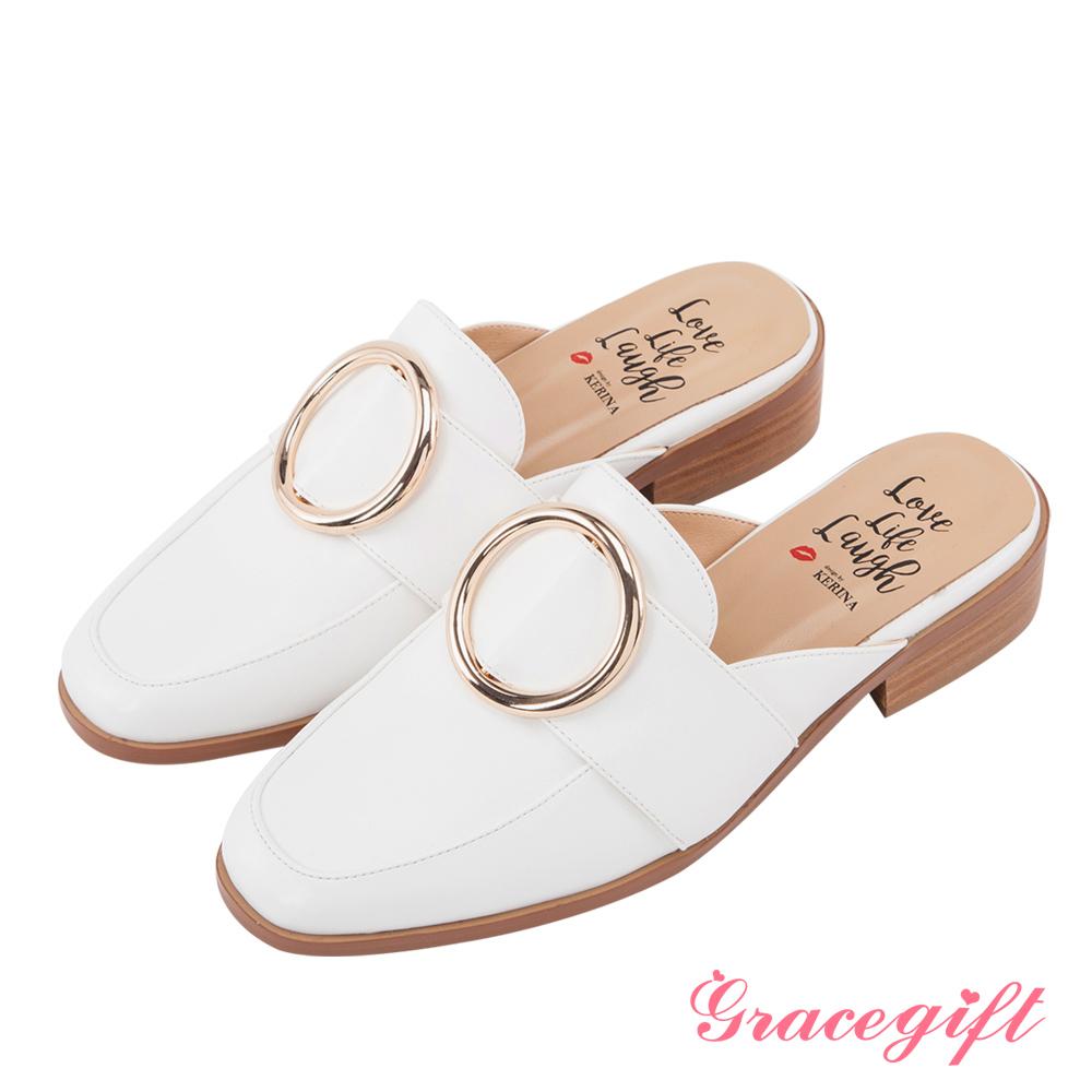 Grace gift X Kerina妞妞-歐美金屬大圓環紳士穆勒鞋 白
