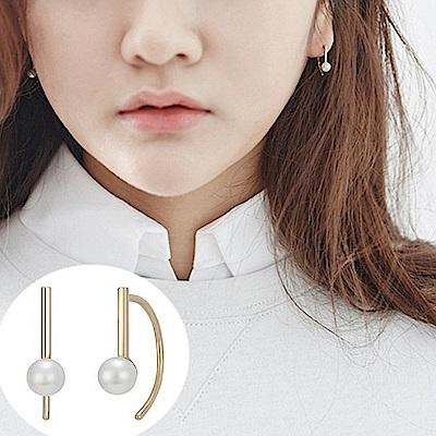 梨花HANA  韓國S925銀細緻珍珠D字彎勾耳環金色