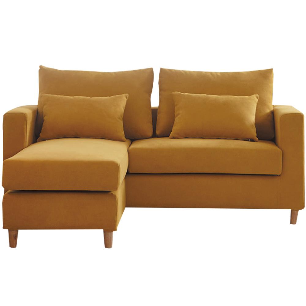 品家居 莫爾沙時尚絲絨布L型獨立筒沙發組合(三人座+椅凳)-168x168x99cm免組