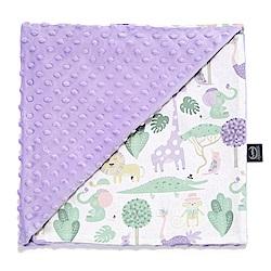 La Millou單面巧柔豆豆毯(加大款)-動物探險隊(紫底)-粉紫馬卡龍