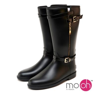 mo.oh愛雨天-晴雨鞋兩穿金屬搭扣中長筒雨靴黑金色