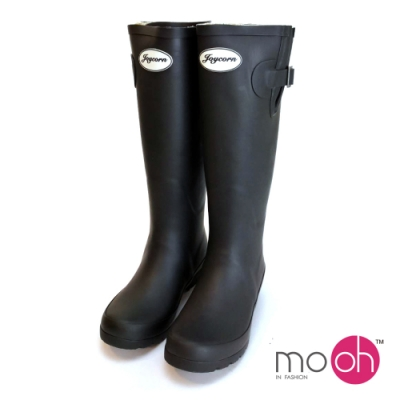 mo.oh 搭扣簡約素色長筒雨靴