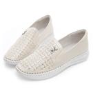 PLAYBOY 皮革編織感水鑽樂福鞋-米-Y529333