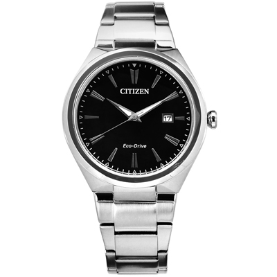 CITIZEN 星辰表 光動能日期視窗礦石強化玻璃日本機芯不鏽鋼手錶-黑色/ 41mm
