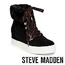 STEVE MADDEN-WINDY毛絨厚底綁帶短靴-絨黑