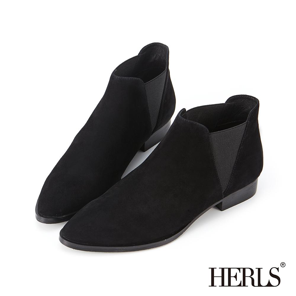 HERLS 率性好感 全真皮側鬆緊麂皮低跟踝靴-黑色
