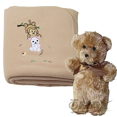 OMAX可愛兔與猴保暖毯+經典可愛熊組合-快