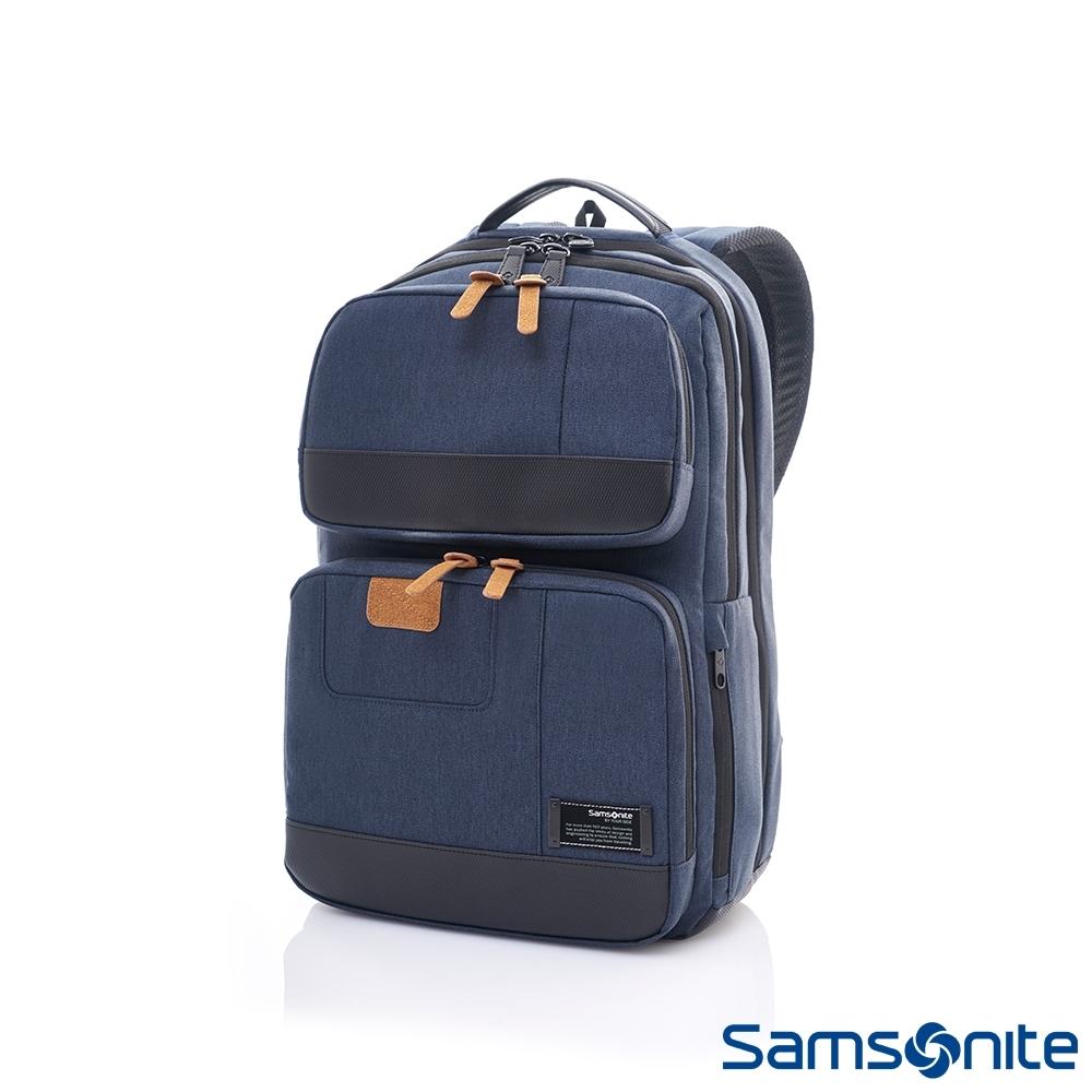 Samsonite新秀麗 Avant極輕盈耐磨時尚筆電後背包(丹寧藍)