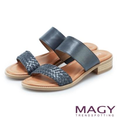 MAGY 樂活渡假 二字牛皮編織拼接羊皮拖鞋-藍色