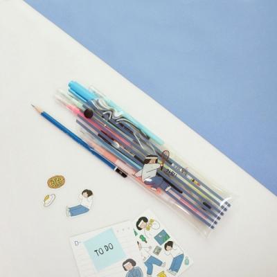 Indigo 女子日常透明插畫筆袋 - 02羽毛球