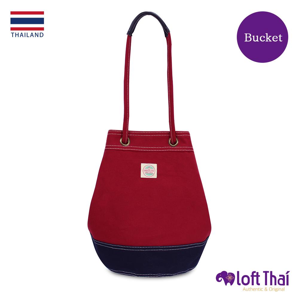 Loft THAI | 泰.兩用帆布水桶包(大) | Red/navy