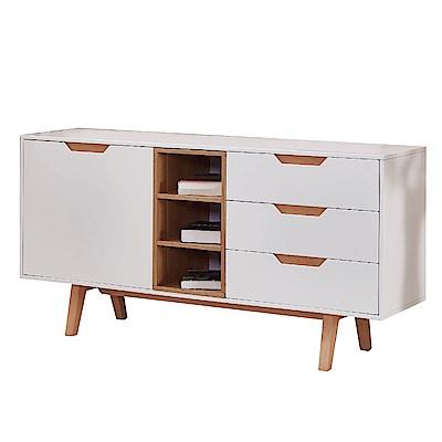 文創集 羅馬斯時尚白5尺單門三抽餐櫃/收納櫃-150x40x75cm免組