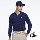 【Lynx Golf】男款內刷毛保暖個性線條感經典山貓織標長袖POLO衫-深藍色 product thumbnail 1