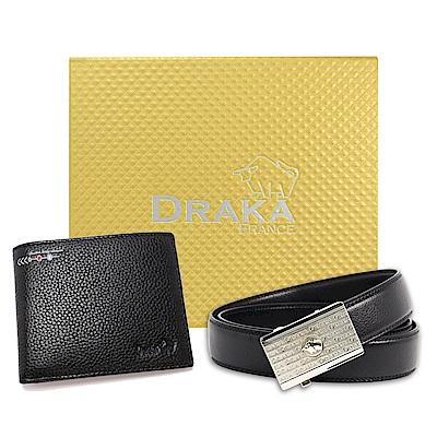DRAKA 達卡 - 黃金禮盒 真皮皮夾+自動皮帶-6015