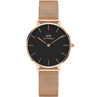 DW Daniel Wellington 時尚黑面玫瑰金款DDW00100161x32mm