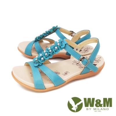 W&M(女) 珠花厚底彈力涼鞋 女鞋 -藍(另有白)