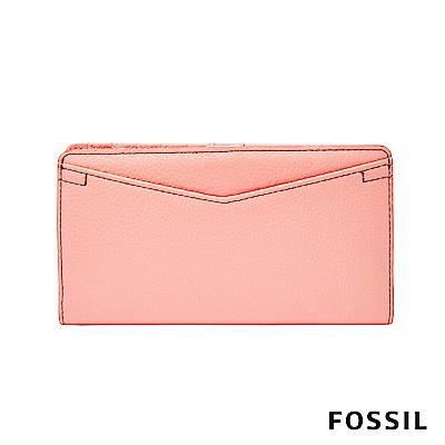 FOSSIL Caroline 輕甜玩美RFID真皮長夾-粉橘色