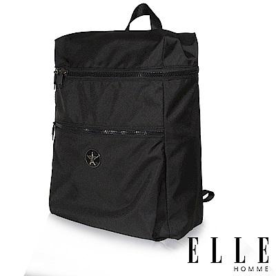 福利品 ELLE 巴黎輕旅商務雙層拉鍊大容量後背包-黑色