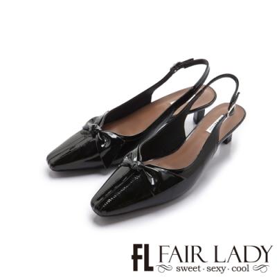 FAIR LADY 優雅小姐漆面蝴蝶裝飾後拉帶貓跟涼鞋 漆黑