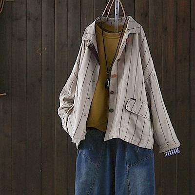 彩扣亞麻夾棉條紋西裝外套/設計家-設計所在