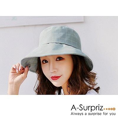 A-Surpriz 氣質格紋蝴蝶結遮陽布帽(淺綠)