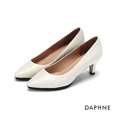 達芙妮DAPHNE 高跟鞋-霧面真皮百搭高跟鞋-米白