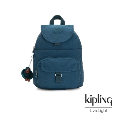 Kipling 遼闊海峽藍前扣多隔層後背包-QUEENIE