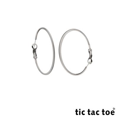 tic tac toe 漸進 白鋼圓形耳扣耳環 5cm 白鋼色