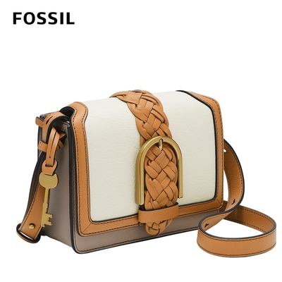 FOSSIL 母親節優惠 Wiley 真皮復古編織撞色美型側背包-米x駝 ZB1522189