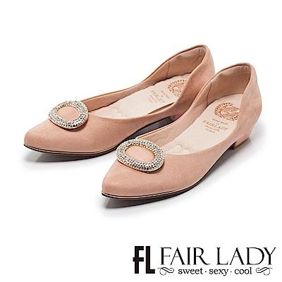 Fair Lady Cube Chic塊時尚 璀璨浪漫圓鑽尖頭低跟鞋 粉