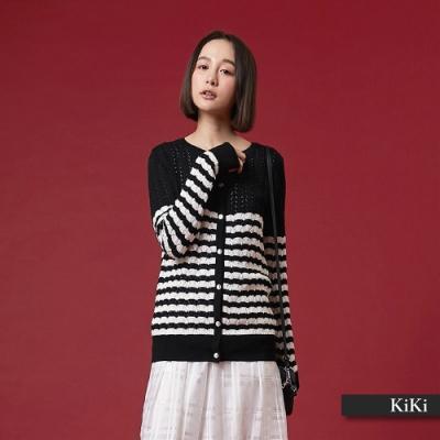 【KiKi】早春款條紋外套-針織衫(三色)